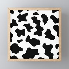 black and white ranch farm animal cowhide western country cow print Framed Mini Art Print