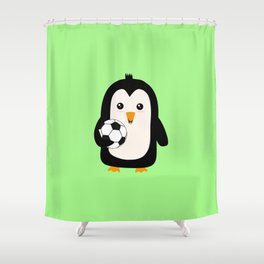 Soccer Penguin with ball T-Shirt Dg3ps Shower Curtain