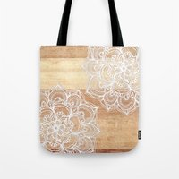 wood Tote Bags featuring White doodles on blonde wood - neutral / nude colors by micklyn