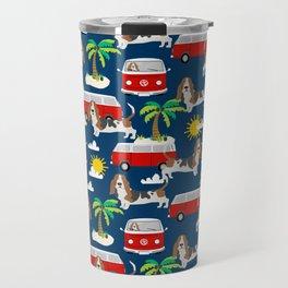 Basset Hound mini van tropical dog breed pattern hippie van custom dog portraits Travel Mug