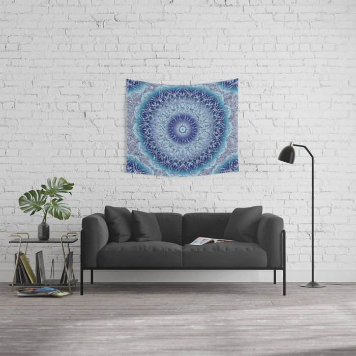 Frosted Lotus Mandala Blue Wall Tapestry