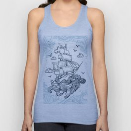 Hand drawn boat with waves background Unisex Tank Top