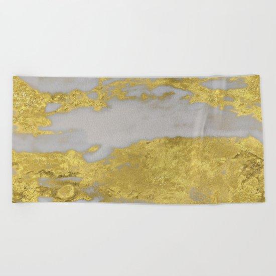 Agria gold marble Beach Towel