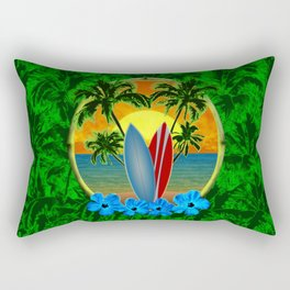 Sunset Surfboards And Palm Trees Rectangular Pillow