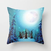 coven Throw Pillows featuring Witch Coven by Annya Kai
