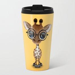 Cute Curious Baby Giraffe Wearing Glasses Travel Mug