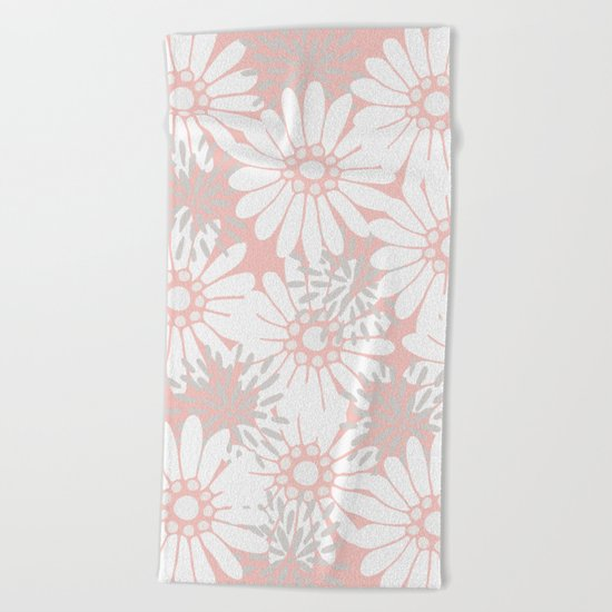 Summer Flowers Pink Beach Towel
