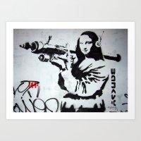 Mona Lisa with Rocket Launcher Banksy Graffiti Street Art Art Print