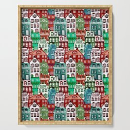 Christmas Village in Watercolor Red + Green Serving Tray