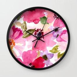 Watercolor Flowers Pink Fuchsia Wall Clock