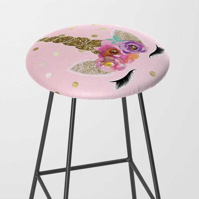 Floral Trendy Modern Unicorn Horn Gold Confetti Bar Stool