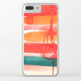 Abstract Watercolor Painting in Sunset Colors Clear iPhone Case