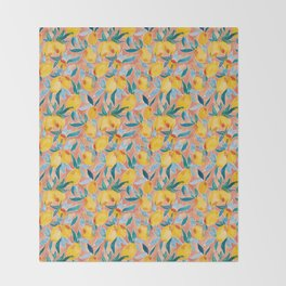 Lucky Lemons Watercolor Fruit Pattern in Peach and Yellow Throw Blanket