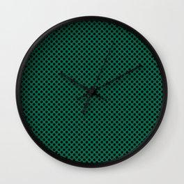Lush Meadow and Black Polka Dots Wall Clock