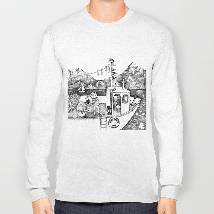 Fox on Fishing-boat Long Sleeve T-shirt
