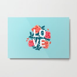 Love Typography with Floral Background Metal Print