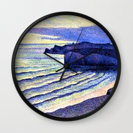 French Coastal Scene by Maximilien Luce Wall Clock