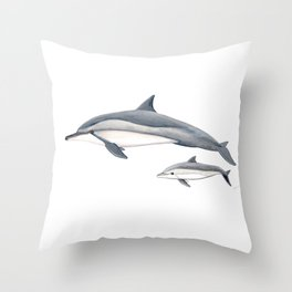 Long-beaked dolphin and baby Throw Pillow