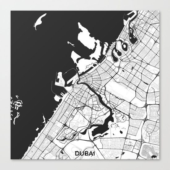 Dubai City Map Gray Canvas Print