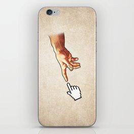 Funny 8bit Nerd & Geek Humor (Creation of Adam Parody) iPhone Skin