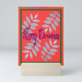 MERRY CHRISTMAS WITH WHITE LEAVES Greeting Illustration Mini Art Print