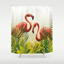 Flamingo Garden leaves Shower Curtain