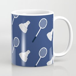 Badminton Blue and White Pattern Coffee Mug