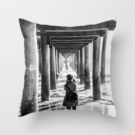 The girl at the pier Throw Pillow