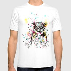 Owl Tree Watercolor X-LARGE Mens Fitted Tee White