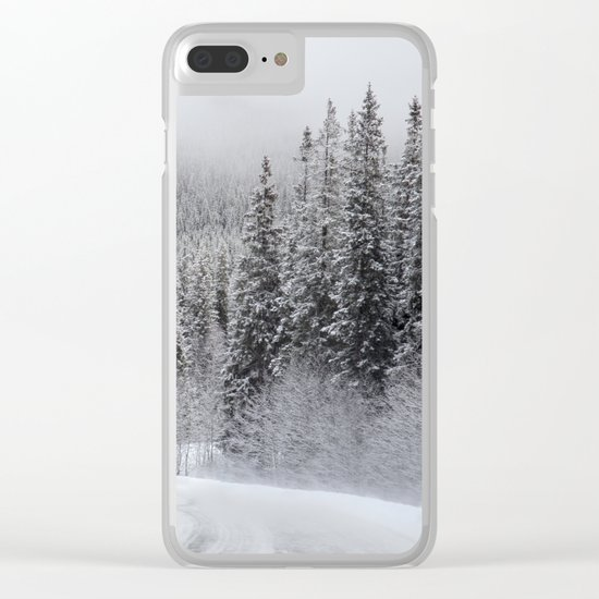 Snow Covered Road Clear iPhone Case