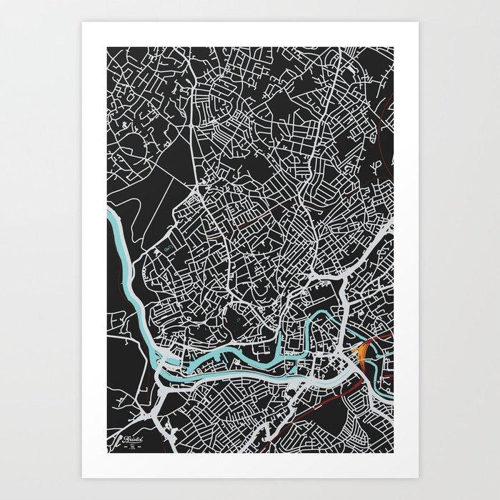 Bristol Map (noir) Art Print
