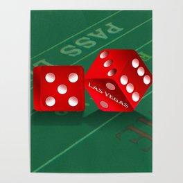 Craps Table & Red Las Vegas Dice Poster