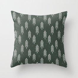 Pine Trees . Olive Throw Pillow