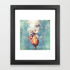 LOVE - Heart On Fire Framed Art Print
