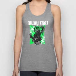 Muay Thai Biker Girl Green Unisex Tank Top