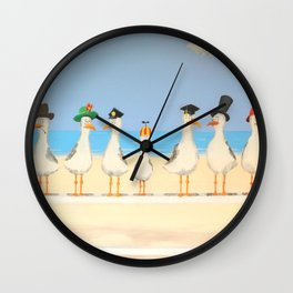 Seagulls with Hats Wall Clock