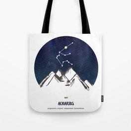 Astrology Aquarius Zodiac Horoscope Constellation Star Sign Watercolor Poster Wall Art Tote Bag