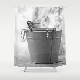 Songbird (Great Tit) on Autumn Day Black and White #decor #society6 #buyart Shower Curtain