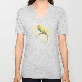 Pastel Green Parakeet Unisex V-Neck