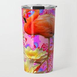 Pink Saffron Flamingo Yellow Water Lilies Deco Art Travel Mug