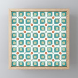 Abstract Flower Pattern Mid Century Modern Retro Turquoise Orange Framed Mini Art Print