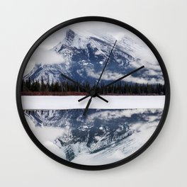 Mount Rundle reflection in Vermillion Lakes, Alberta Wall Clock