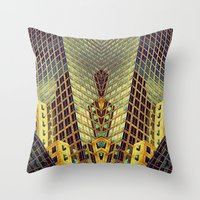 art deco Throw Pillows featuring Art Deco by Sabina Miklowitz