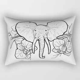 Elephant Orchid - Lineart Rectangular Pillow