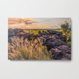 Sunset and Smoke from Controlled Burning at Ubirr Rock, Australia. Metal Print
