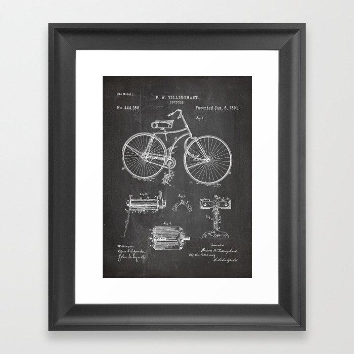 Bicycle Patent - Cyclling Art - Black Chalkboard Gerahmter Kunstdruck