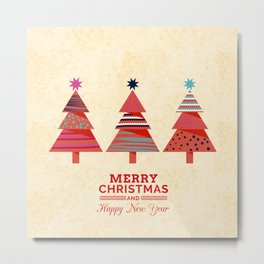Three Christmas Trees Metal Print