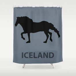 Horse Silhouette Iceland Shower Curtain