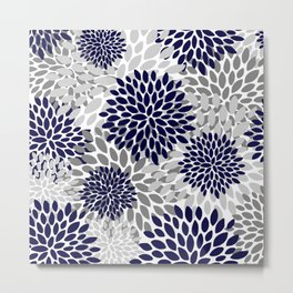 Floral Prints, Navy Blue and Grey, Art for Walls Metal Print