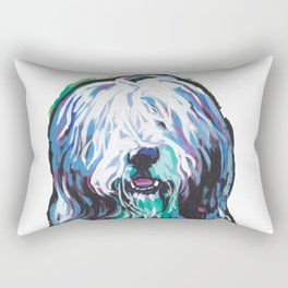Fun Bearded Collie Dog Portrait bright colorful Pop Art Dog Painting by LEA Rectangular Pillow